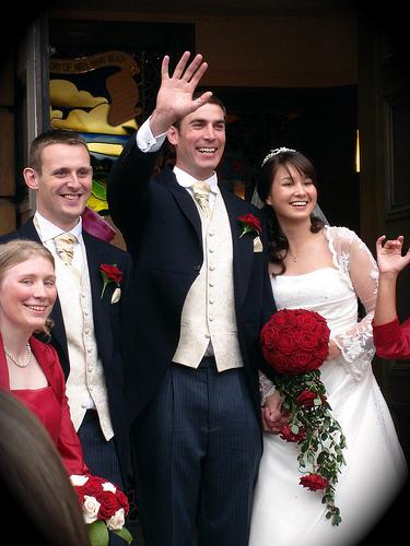 Gordon & Jenna's wedding - church steps - 3