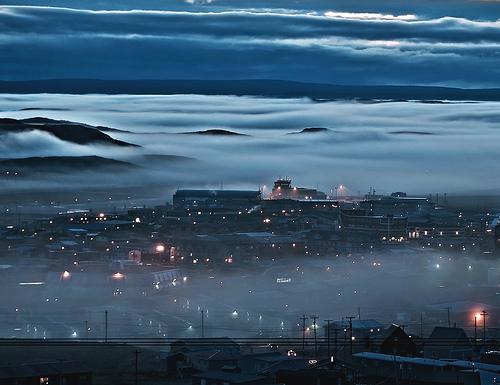 Arctic, Iqaluit, Fog, Mist, Night, City