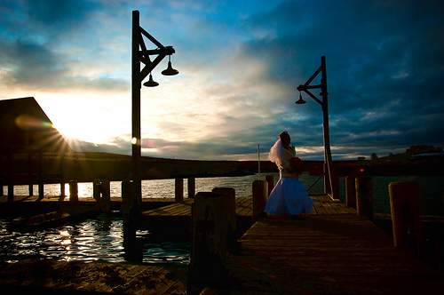 wedding image shot at dusk