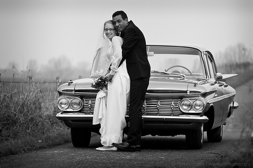 black and white wedding shot